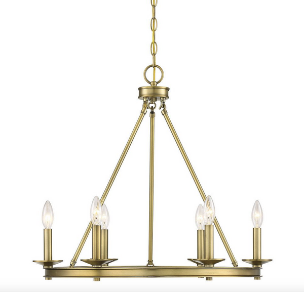 Middleton 6 Light Chandelier Warm Brass-furniture stores regina-Hunters Furniture