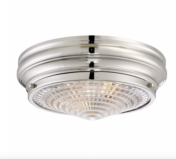 "Benton 13"" Flush Mount Polished Nickel-furniture stores regina-Hunters Furniture"