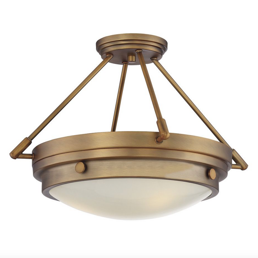 Lucerne 3 Light Semi-Flush Warm Brass-furniture stores regina-Hunters Furniture