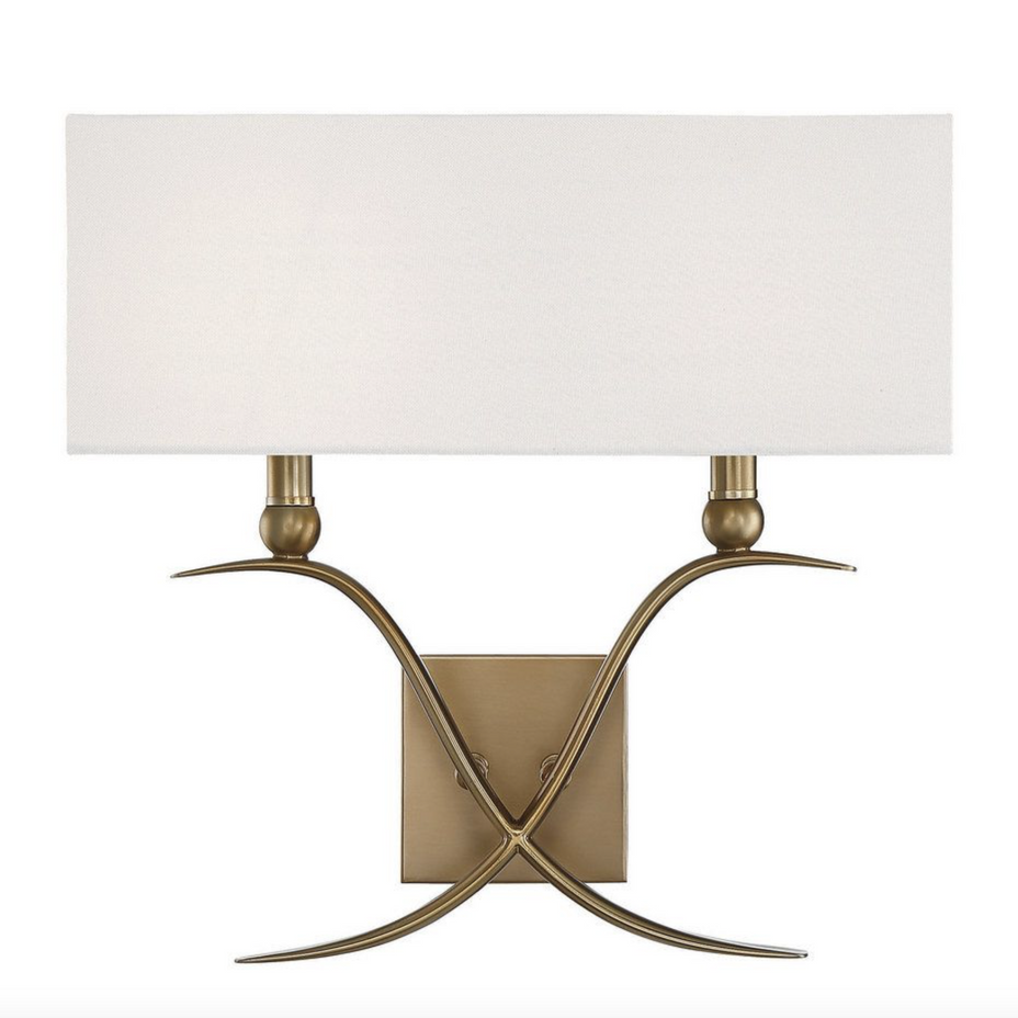 Payton 2 Light Sconce Warm Brass-furniture stores regina-Hunters Furniture
