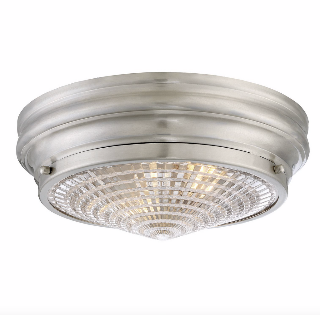 "Benton 13"" Flush Mount Satin Nickel-furniture stores regina-Hunters Furniture"