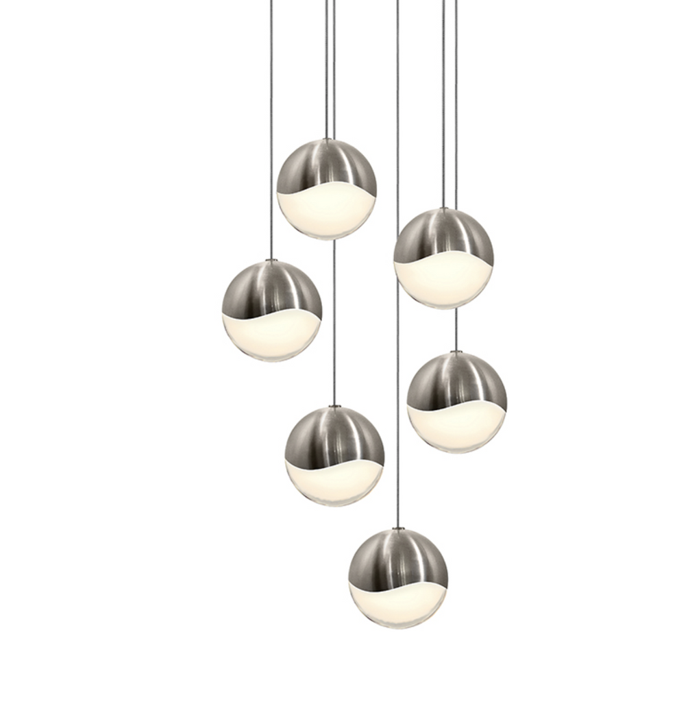 Grapes 6-Light Round Large LED Pendant Satin Nickel-furniture stores regina-Hunters Furniture