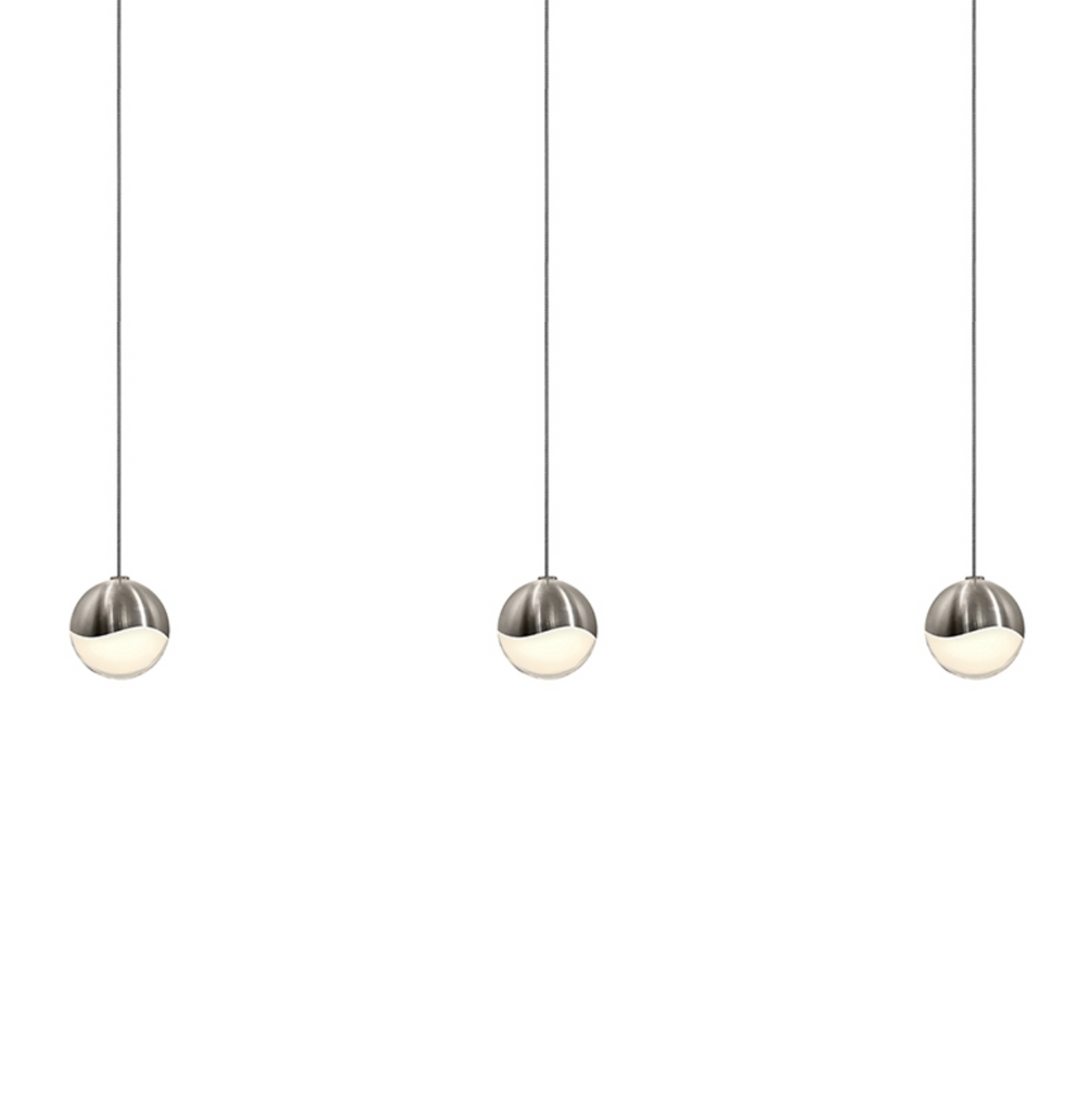 Grapes 3-Light Rectangle Small LED Pendant Satin Nickel-furniture stores regina-Hunters Furniture