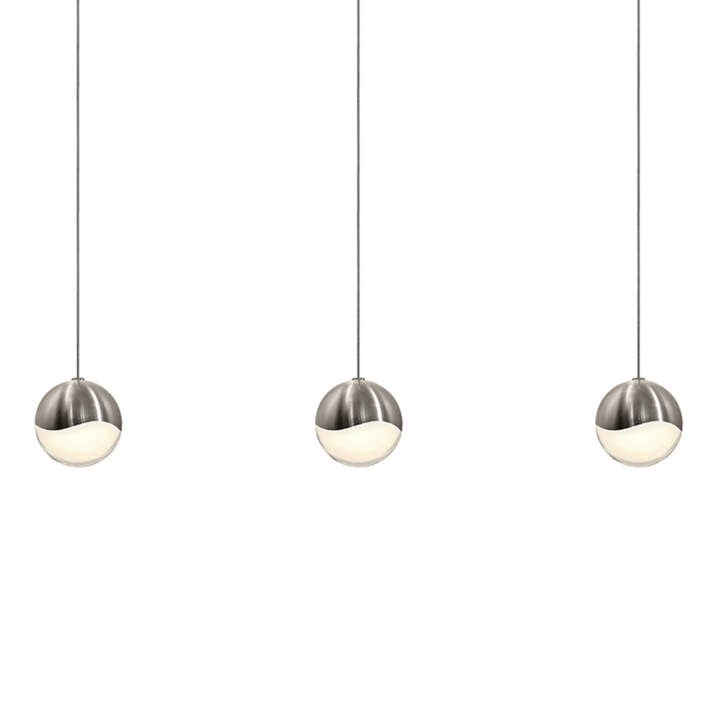 Grapes 3-Light Rectangle Medium LED Pendant Satin Nickel-furniture stores regina-Hunters Furniture