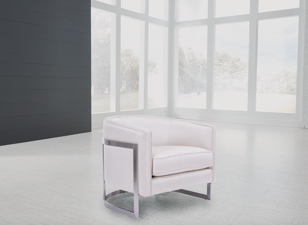 SANTA MONICA White Fabric - Brushed Metal Chair-furniture stores regina-Hunters Furniture