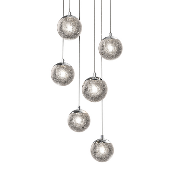Champagne Bubbles 6-Light Round LED Pendant Polished Chrome-furniture stores regina-Hunters Furniture