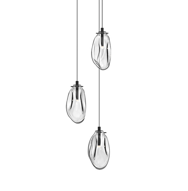 Liquid 3-Light LED Pendant Satin Black w/Clear Glass-furniture stores regina-Hunters Furniture