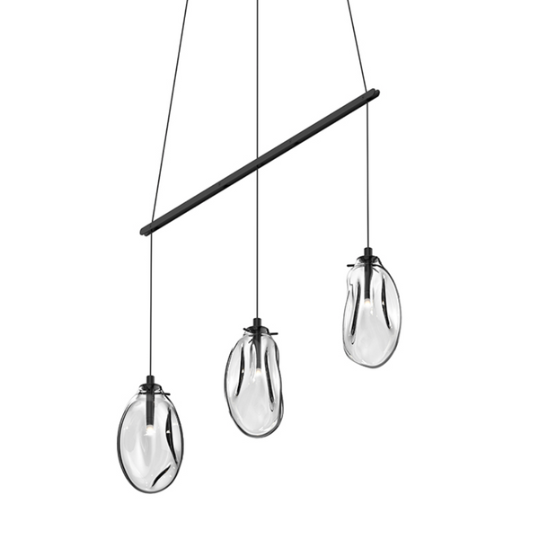 Liquid 3-Light Linear Spreader LED Pendant Satin Black w/Clear Glass-furniture stores regina-Hunters Furniture