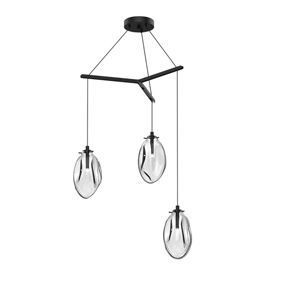 Liquid 3-Light Tri-Spreader LED Pendant Satin Black w/Clear Glass-furniture stores regina-Hunters Furniture