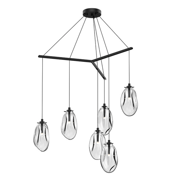 Liquid 6-Light Tri-Spreader LED Pendant Satin Black w/Clear Glass-furniture stores regina-Hunters Furniture