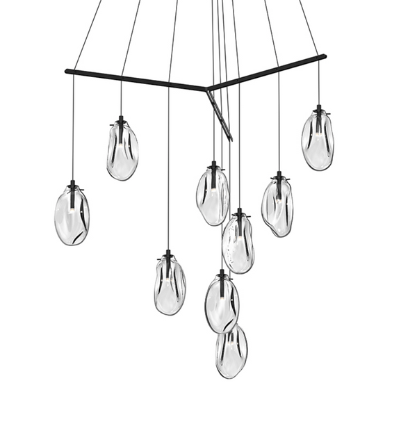 Liquid 9-Light Tri-Spreader LED Pendant Satin Black w/Clear Glass-furniture stores regina-Hunters Furniture