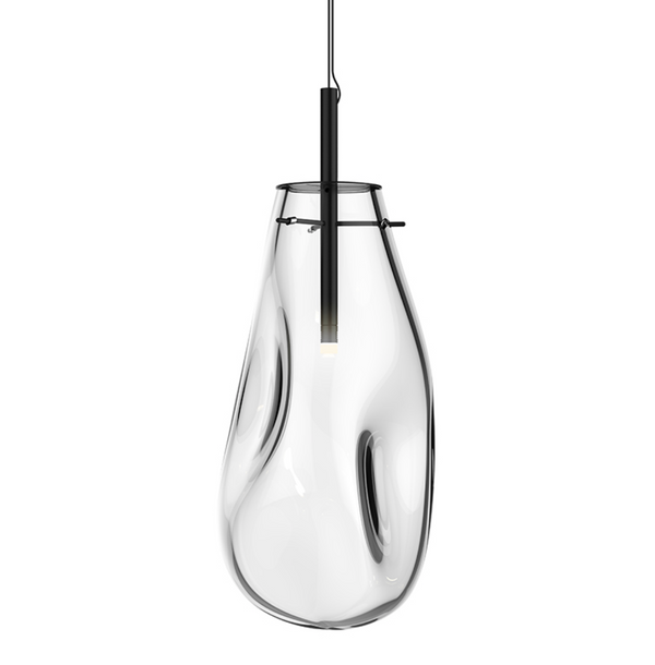 Liquid Large LED Pendant Satin Black w/Clear Glass-furniture stores regina-Hunters Furniture