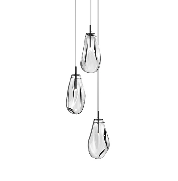 Liquid Large 3-Light Round LED Pendant Satin Black w/Clear Glass-furniture stores regina-Hunters Furniture