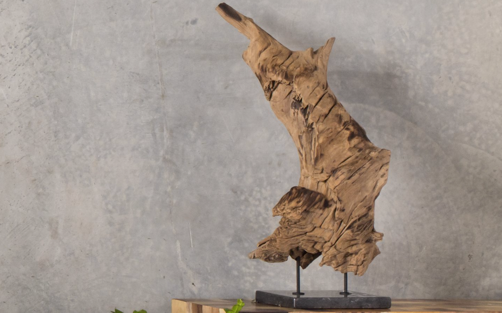 "N157 Wood Sculpture on Black Marble Stand Wood - 31.5"" Sculpture-furniture stores regina-Hunters Furniture"