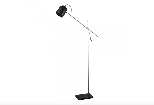 "N136 Floor Lamp Black Shade on Brushed Gold Lamp Metal - 71"" Floor Lamp-furniture stores regina-Hunters Furniture"
