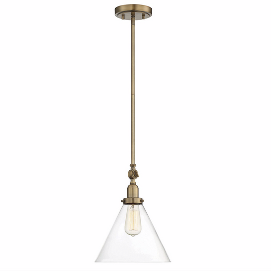 Drake 1 Light Pendant Warm Brass-furniture stores regina-Hunters Furniture