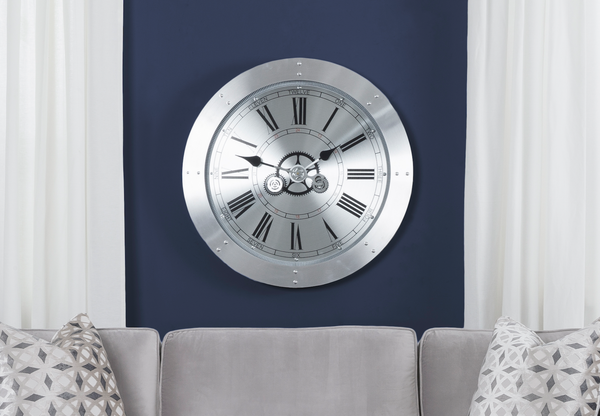 "30"" CLOCK Silver Metal - 30"" Wall Clock-furniture stores regina-Hunters Furniture"