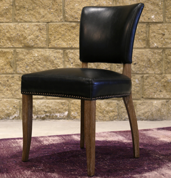 NOTTINGHAM Black Leather - L Dining Chair-furniture stores regina-Hunters Furniture
