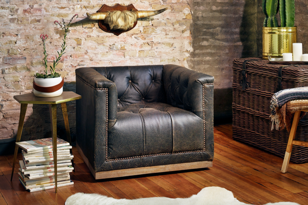 CHESHIRE Black Leather - Chair-furniture stores regina-Hunters Furniture