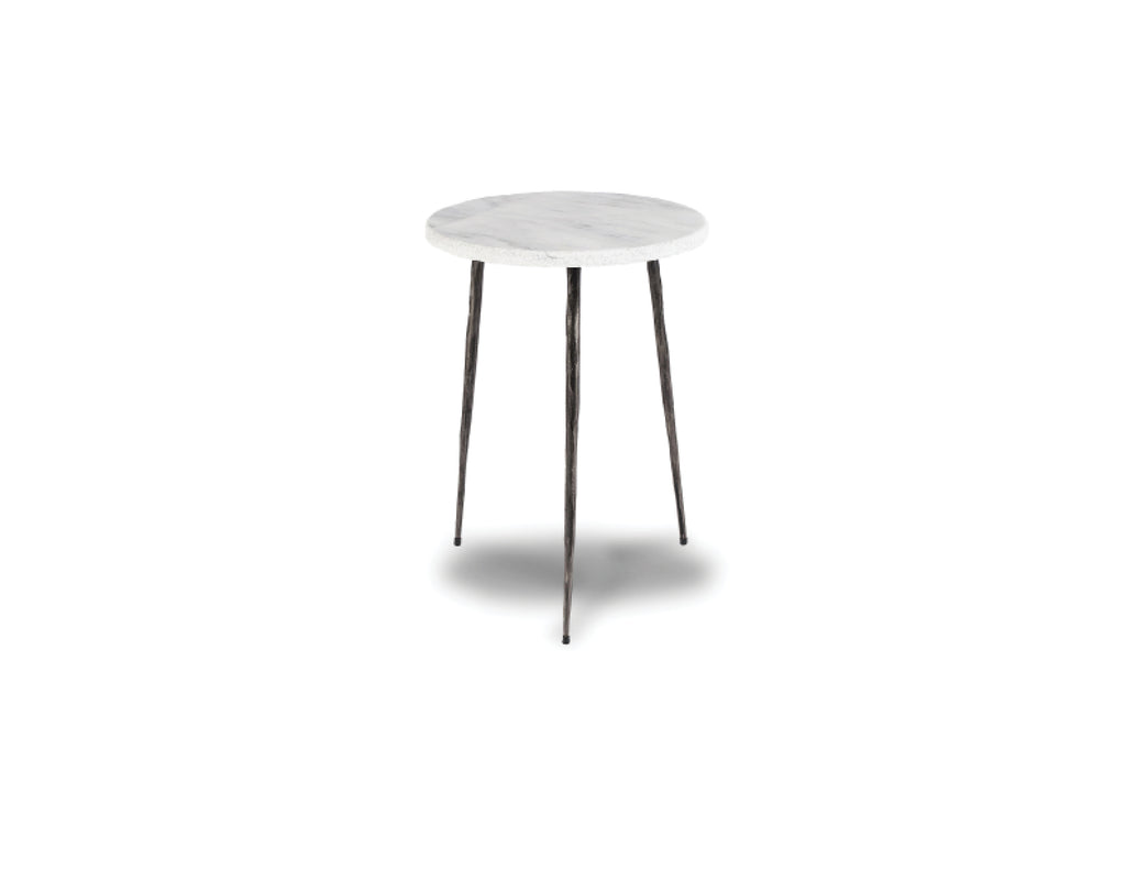 "635 White - Tall Marble - 13"" Side Table-furniture stores regina-Hunters Furniture"