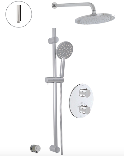 THERMOSTATIC SHOWER SYSTEM - 2 FUNCTIONS, Chrome CHROME