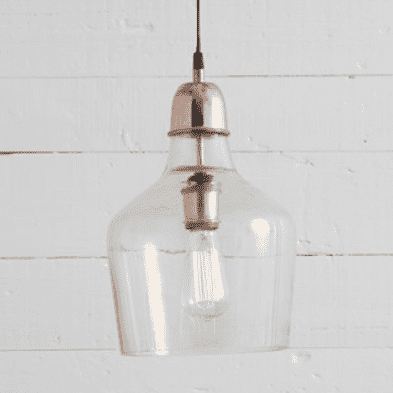 (Item Discontinued) Glass Pendant Copper Accent - FINAL SALE-furniture stores regina-Hunters Furniture