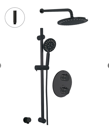 THERMOSTATIC SHOWER SYSTEM - 2 FUNCTIONS ELECTRO BLACK