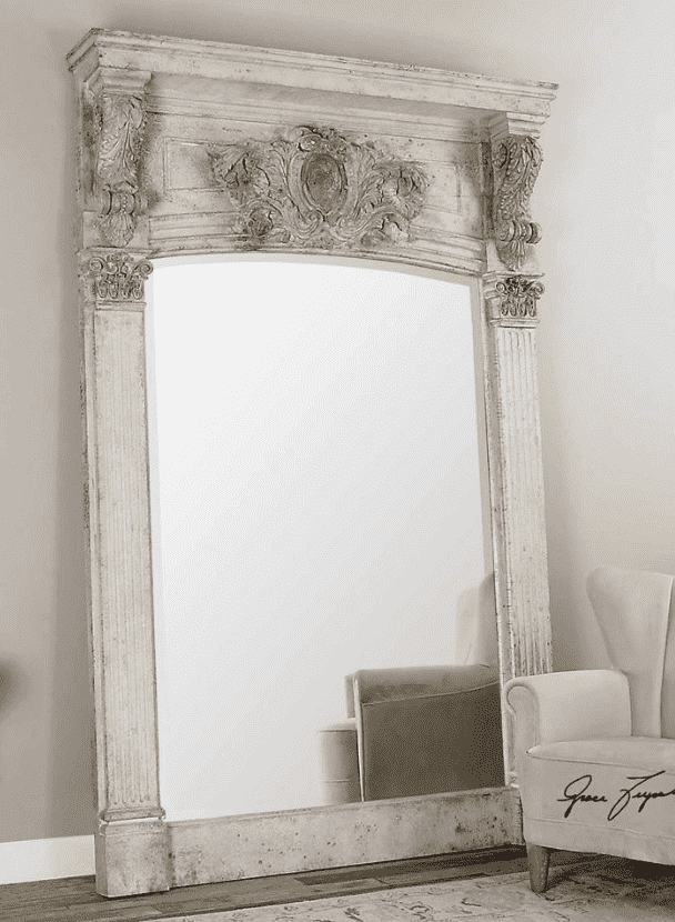 "64"" Distressed Pine Mirror in Aged White-furniture stores regina-Hunters Furniture"