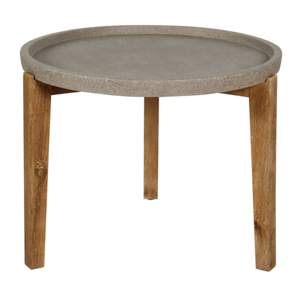 "N388 Round Stone/Wood - 24"" Side Table-furniture stores regina-Hunters Furniture"