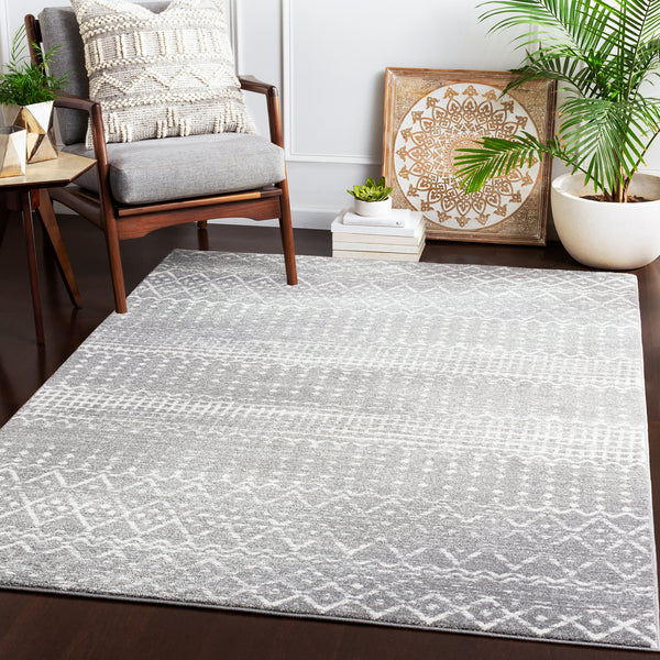 526 Polypropylene, Charcoal, Light Grey, Ivory Fabric - 5x8 Rug-furniture stores regina-Hunters Furniture