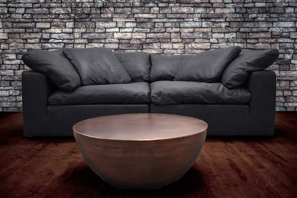"SANTA MONICA Black Leather - 88"" Sofa-furniture stores regina-Hunters Furniture"