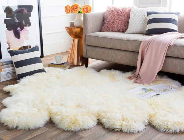 536 Sheepskin, Ivory Leather - 4x6 Rug-furniture stores regina-Hunters Furniture
