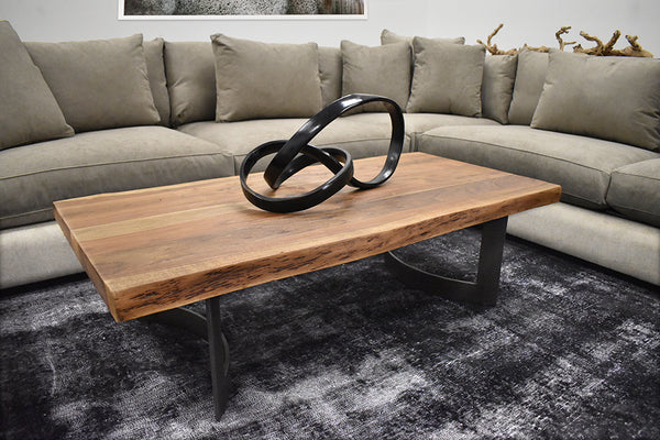 "WHISTLER Natural Tree Colors with Smoked Finish and Live Edge Exotic Hardwood - 56"" Coffee Table-furniture stores regina-Hunters Furniture"