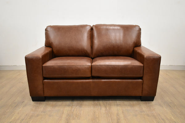 "RED DEER CUSTOM LEATHER LOVESEAT 66""-furniture stores regina-Hunters Furniture"