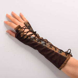Women's Gloves Steampunk Vintage Lolita Victorian Tie-Up Brown Mitten for Slim Armbands Cosplay Accessory