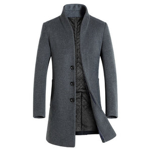 Laamei 2018 New Autumn Winter Mens Wool Trench Coat Korean Men Slim Fit Trench Parkas Long Jacket Male Wool Coat High Quality