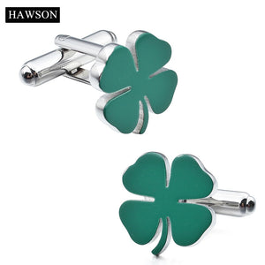 Four-Leaf Four-leaved Clover Green Cufflinks