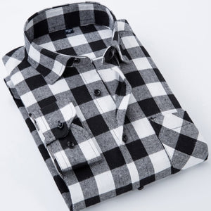 Men's Stylish Long Sleeve Plaid Print Brushed Dress Shirt with Chest Pocket Slim-fit Worn-in Comfortable Casual Flannel Shirts