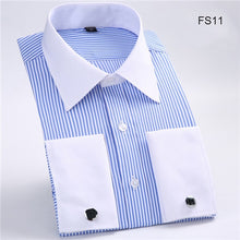 New Plus size M to 6xl France Cufflink all weather solid twill/striped business men dress shirts Patchwork white collar and cuff