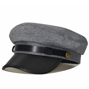 Faux Leather Captain Hat