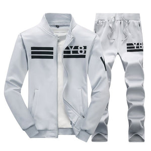 Spring Men Set Casual Tracksuit Male Stand Collar 2019 Men's Sportswear Jackets+Sweatpants 2 Pieces Sets Slim Solid Sweatsuits