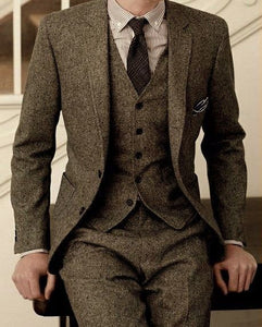 Winter Khaki Tweed Suits Vintage Men Suits for Wedding 3 Pieces Classic Groom Tuxedos Handsome Male Blazers Slim Fit Jacket