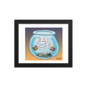 Final Flush Cartoon Framed print