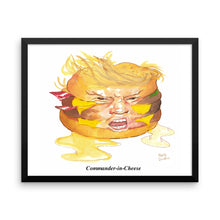 Trumpburger 'Commander-in-Cheese' Framed poster