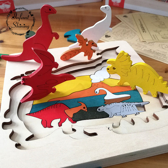 Dino Park-Puzzle-infant shining-White-Montessori toyz