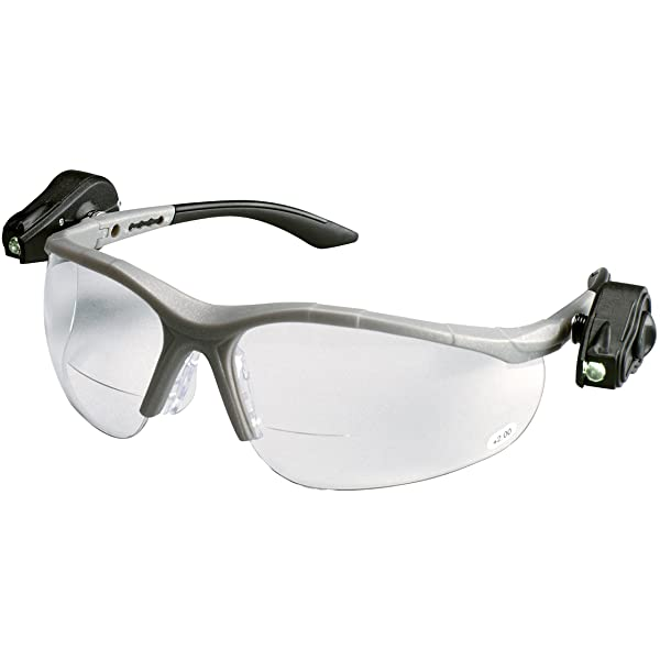 3M Safety Glasses w/LED Lights, Clear AntiFog Lens with Readers