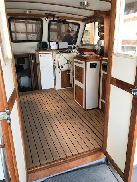 """""""Things that people who sail think about: slippery teak varnished floors. A few of our floors are not flat and I have slipped into our entryway ladder a few ..."""