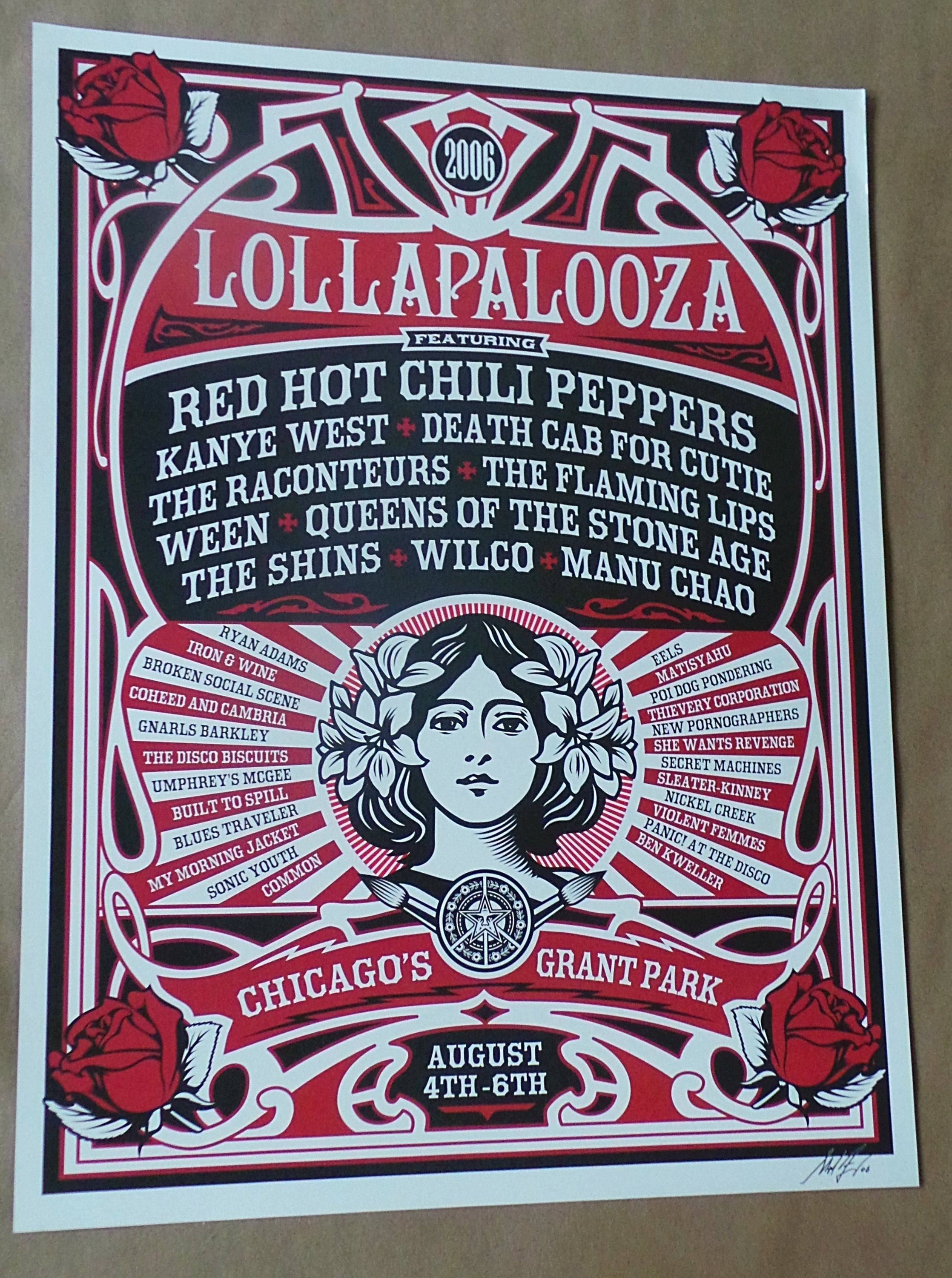 CANVAS Pearl Jam Perfoming at Lollapalooza Art print POSTER