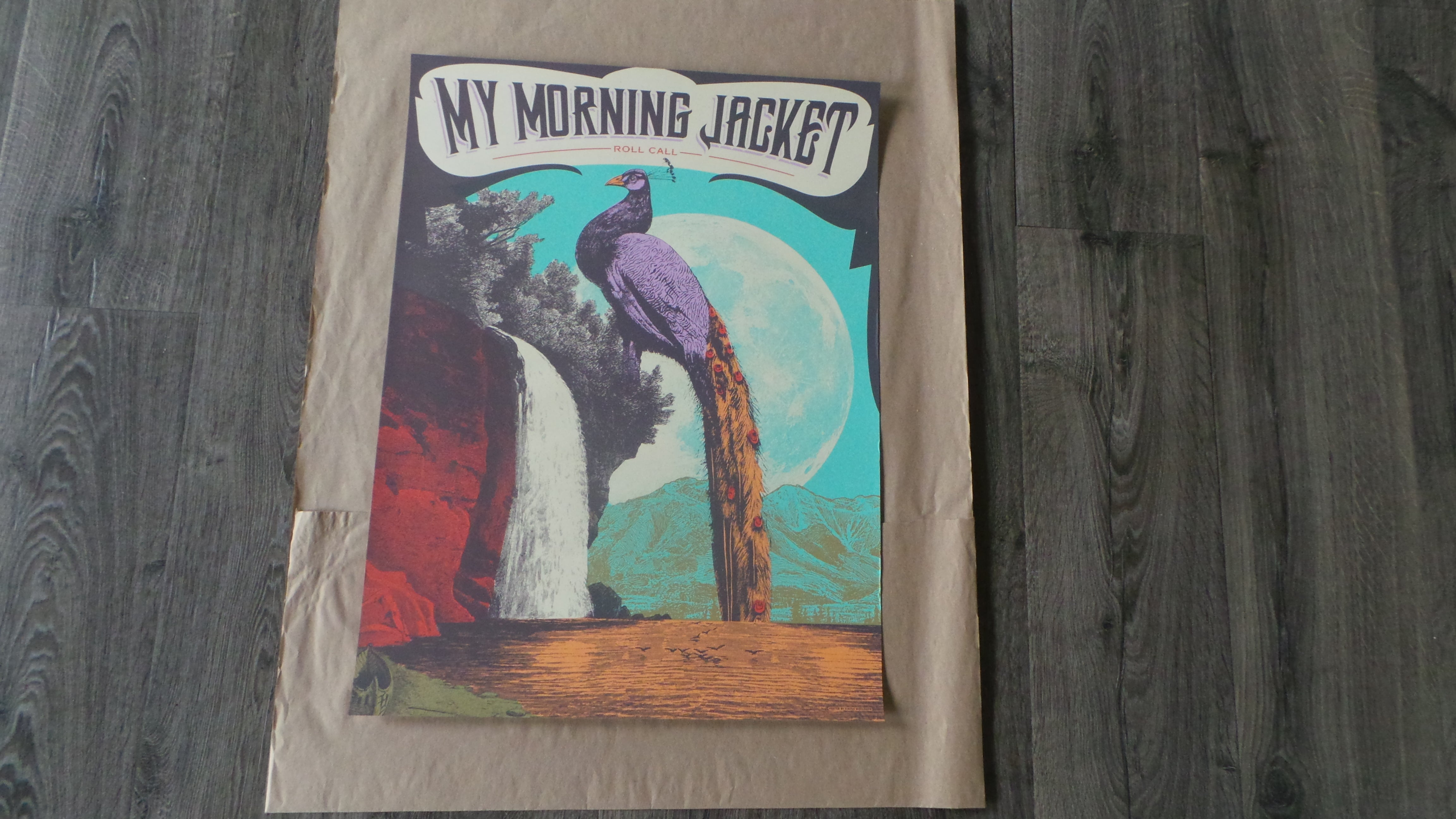 New 2015 My Morning Jacket Waterfall Roll Call Peacock poster