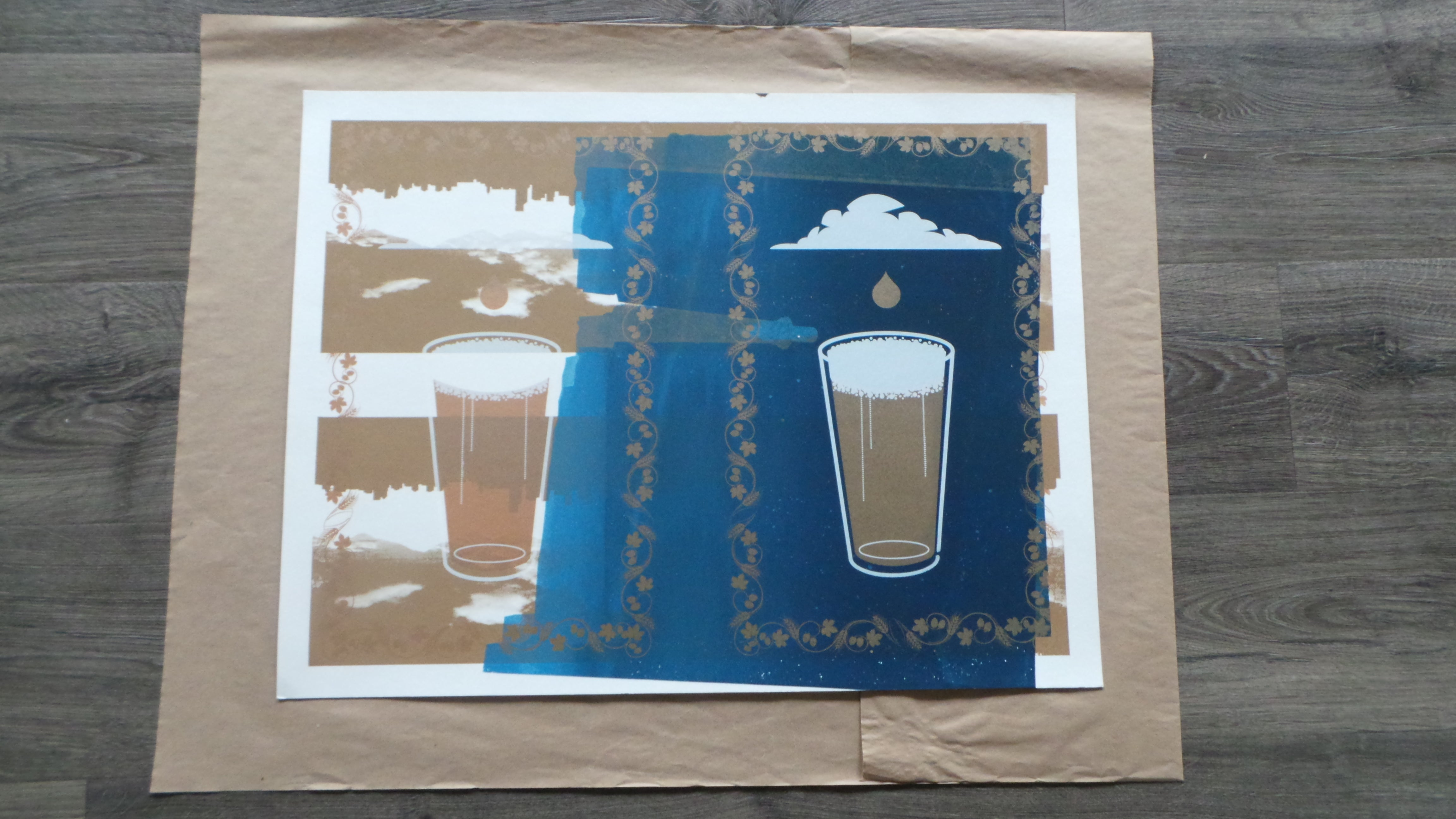 Raining in the cups Poster, unsigned, not numbered